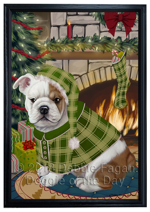 The Stocking was Hung Bulldog Framed Canvas Print Wall Art FCVS176384
