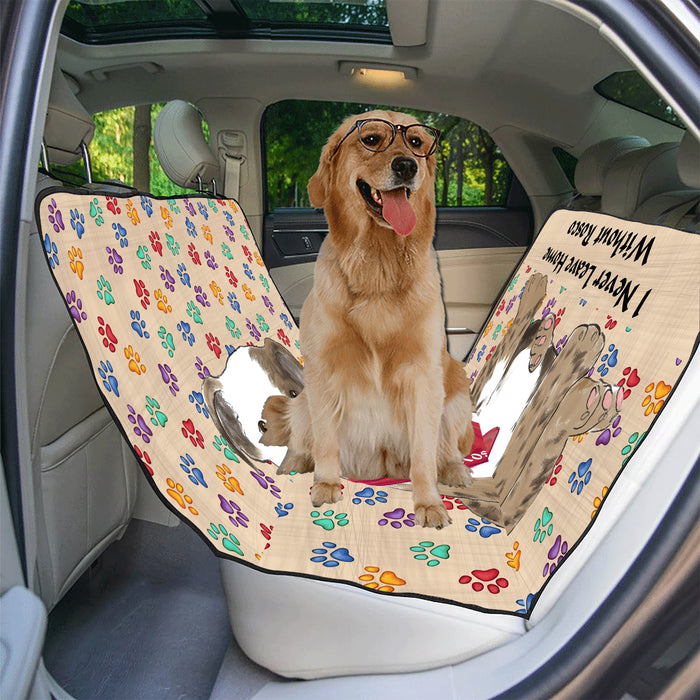 Personalized I Never Leave Home Paw Print Bulldogs Pet Back Car Seat Cover