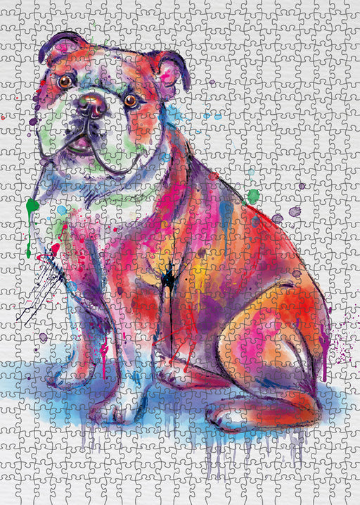 Watercolor Bulldog Puzzle with Photo Tin PUZL97120