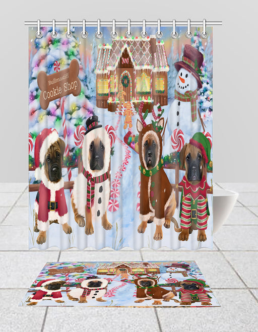 Holiday Gingerbread Cookie Bullmastiff Dogs  Bath Mat and Shower Curtain Combo