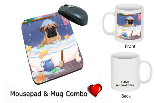 Rub A Dub Dog In A Tub Bullmastiff Dog Mug & Mousepad Combo Gift Set MPC52724