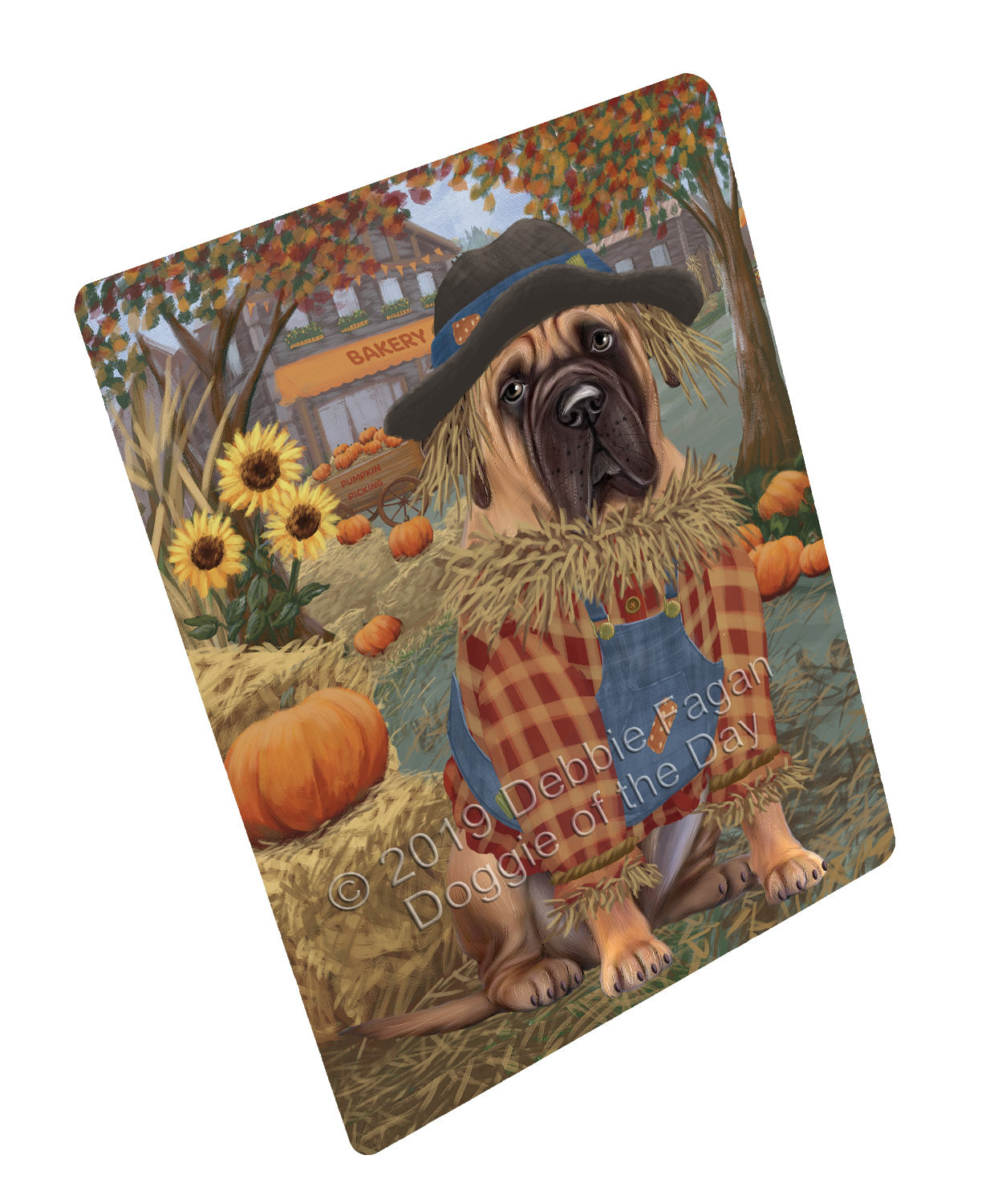 Halloween 'Round Town And Fall Pumpkin Scarecrow Both Bullmastiff Dogs Large Refrigerator / Dishwasher Magnet RMAG104700