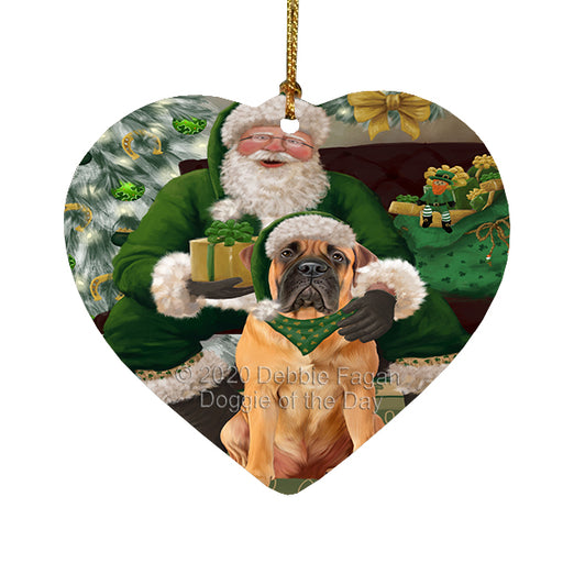Christmas Irish Santa with Gift and Bulldog Dog Heart Christmas Ornament RFPOR58254
