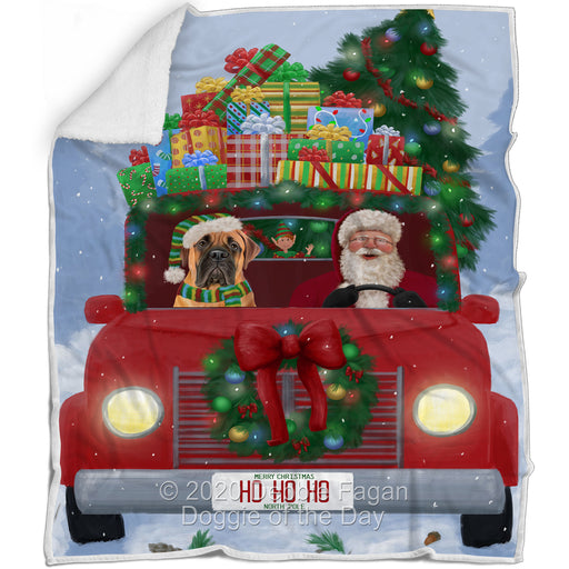 Christmas Honk Honk Red Truck Here Comes with Santa and Bullmastiff Dog Blanket BLNKT140783