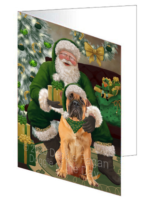 Christmas Irish Santa with Gift and Bullmastiff Dog Note Card NCD75809