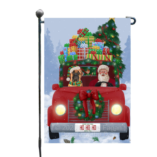 Christmas Honk Honk Red Truck Here Comes with Santa and Bullmastiff Dog Garden Flag GFLG66531