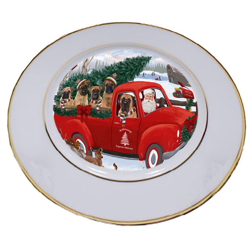 Christmas Santa Express Delivery Bullmastiffs Dog Family Porcelain Plate PLT56946