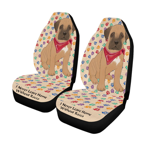 Personalized I Never Leave Home Paw Print Bullmastiff Dogs Pet Front Car Seat Cover (Set of 2)
