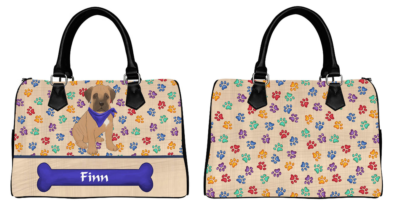 Custom Personalized Blue Paw Print Bullmastiff Dog Euramerican Tote Bag Bullmastiff Dog Boston Handbag