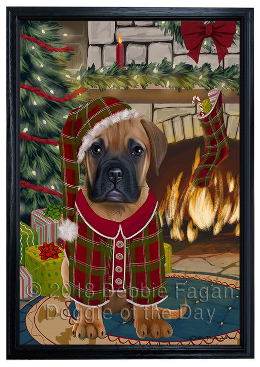 The Stocking was Hung Bullmastiff Dog Framed Canvas Print Wall Art FCVS176401