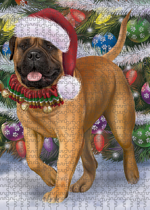 Trotting in the Snow Bullmastiff Dog Puzzle with Photo Tin PUZL94796