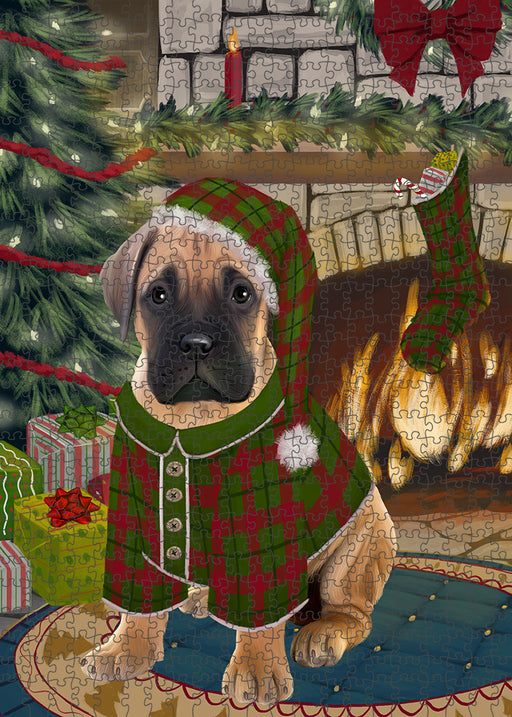 The Stocking was Hung Bullmastiff Dog Puzzle with Photo Tin PUZL89232