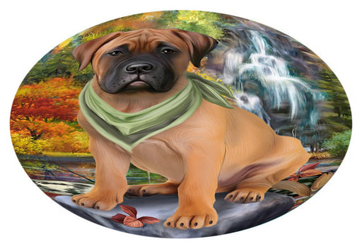 Scenic Waterfall Bullmastiff Dog Oval Envelope Seals OVE63392