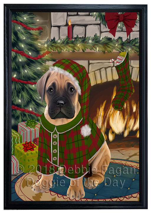 The Stocking was Hung Bullmastiff Dog Framed Canvas Print Wall Art FCVS176418