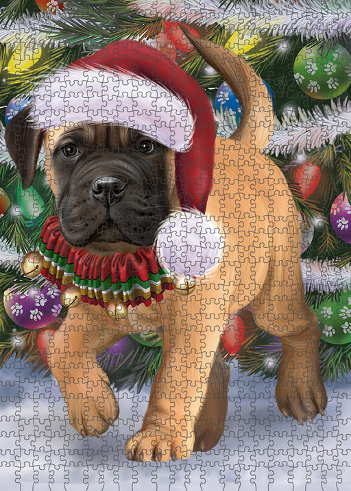 Trotting in the Snow Bullmastiff Dog Puzzle with Photo Tin PUZL94800