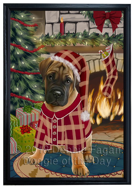 The Stocking was Hung Bullmastiff Dog Framed Canvas Print Wall Art FCVS176435