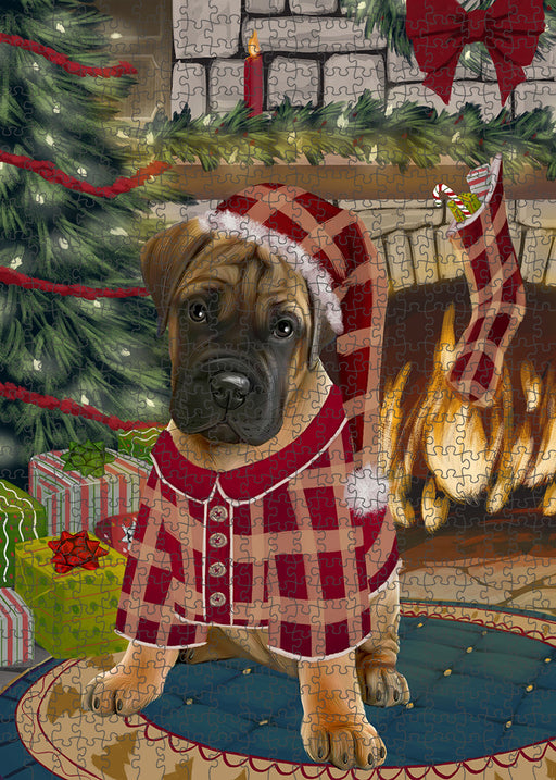 The Stocking was Hung Bullmastiff Dog Puzzle with Photo Tin PUZL89236