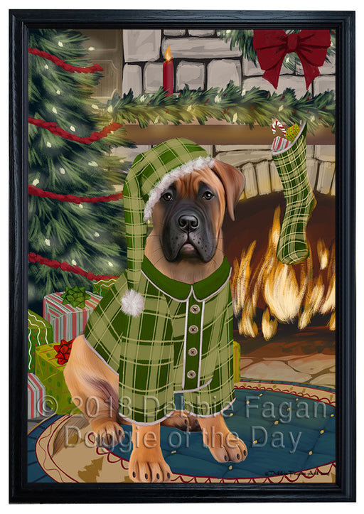 The Stocking was Hung Bullmastiff Dog Framed Canvas Print Wall Art FCVS176452