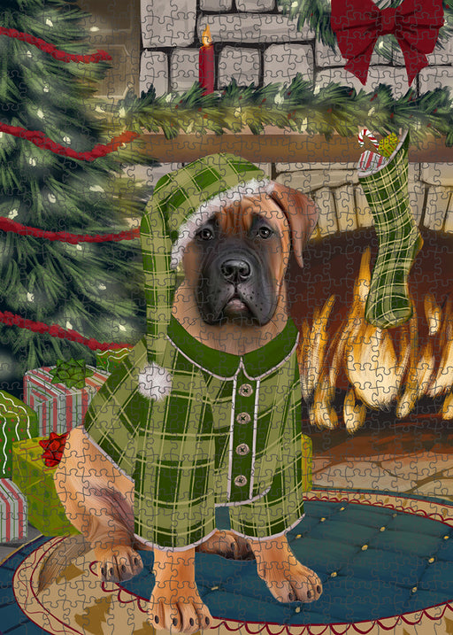 The Stocking was Hung Bullmastiff Dog Puzzle with Photo Tin PUZL89240