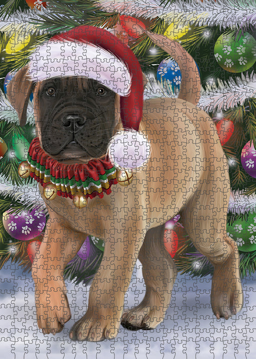Trotting in the Snow Bullmastiff Dog Puzzle with Photo Tin PUZL94808