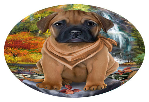Scenic Waterfall Bullmastiff Dog Oval Envelope Seals OVE63404