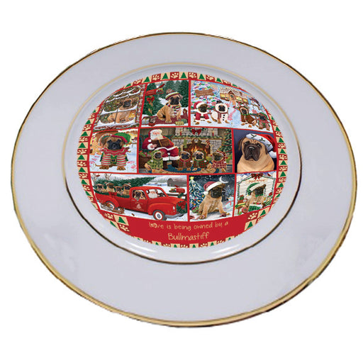 Love is Being Owned Christmas Bullmastiff Dogs Porcelain Plate PLT57260