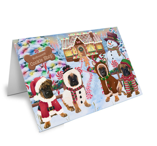 Holiday Gingerbread Cookie Shop Bullmastiffs Dog Note Card NCD73679
