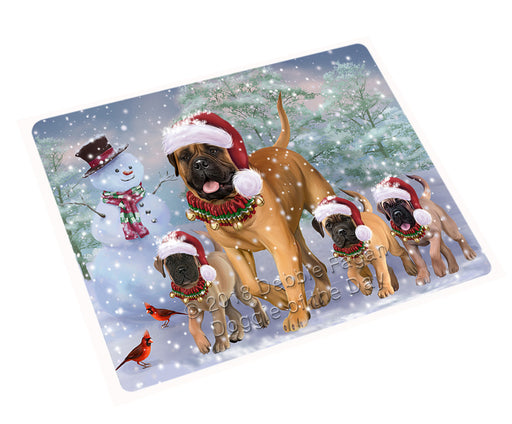 Christmas Running Family Bullmastiffs Dog Cutting Board C75048