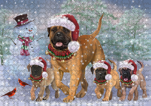 Christmas Running Family Bullmastiffs Dog Puzzle with Photo Tin PUZL94748