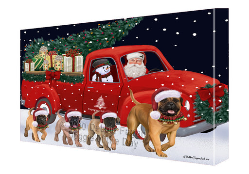 Christmas Express Delivery Red Truck Running Bullmastiff Dogs Canvas Print Wall Art Décor CVS145952
