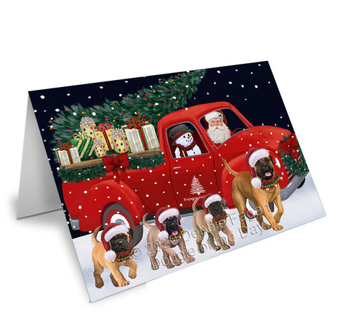 Christmas Express Delivery Red Truck Running Bullmastiff Dogs Greeting Card GCD75092