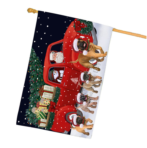 Christmas Express Delivery Red Truck Running Bullmastiff Dogs House Flag FLG66506