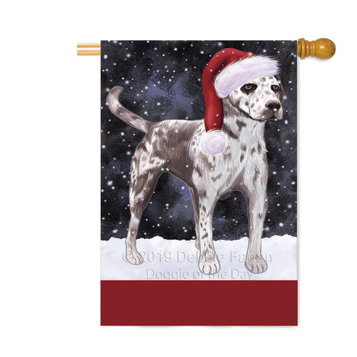 Personalized Let It Snow Happy Holidays Catahoula Leopard Dog Custom House Flag FLG-DOTD-A62361