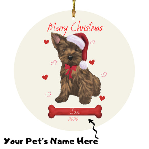 Personalized Merry Christmas  Cairn Terrier Dog Christmas Tree Round Flat Ornament RBPOR58935