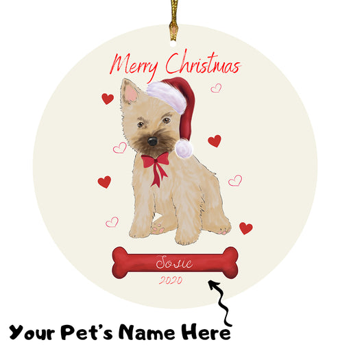 Personalized Merry Christmas  Cairn Terrier Dog Christmas Tree Round Flat Ornament RBPOR58936