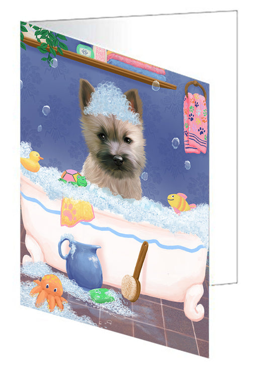 Rub A Dub Dog In A Tub Cairn Terrier Dog Greeting Card GCD79310