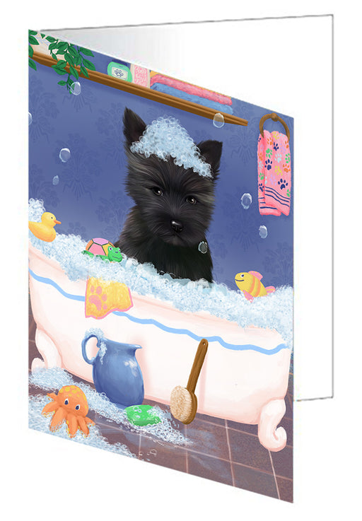 Rub A Dub Dog In A Tub Cairn Terrier Dog Greeting Card GCD79313