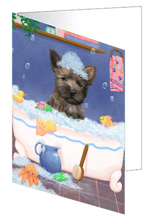 Rub A Dub Dog In A Tub Cairn Terrier Dog Greeting Card GCD79316