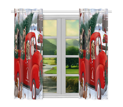 Christmas Santa Express Delivery Red Truck Cairn Terrier Dogs Window Curtain