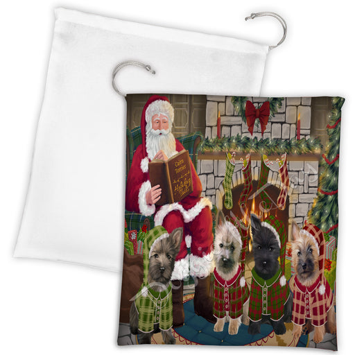 Christmas Cozy Holiday Fire Tails Cairn Terrier Dogs Drawstring Laundry or Gift Bag LGB48487
