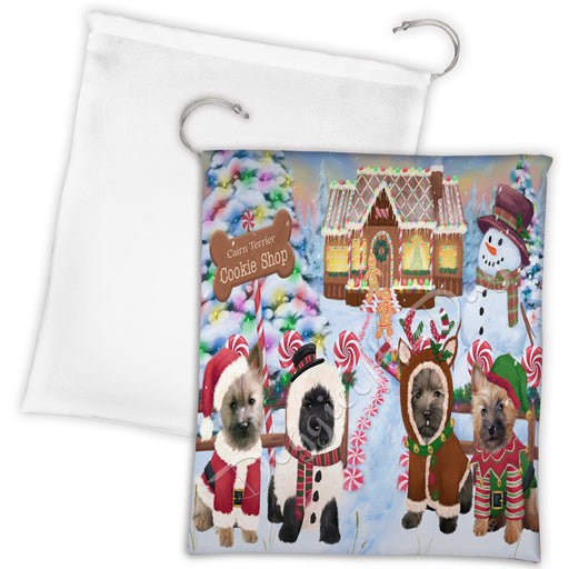 Holiday Gingerbread Cookie Cairn Terrier Dogs Shop Drawstring Laundry or Gift Bag LGB48584