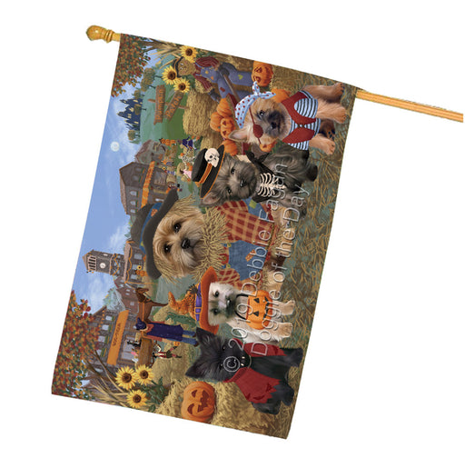 Halloween Round Town And Fall Pumpking Scarecrow Both Cairn Terrier Dogs Garden Flag GFLG65585