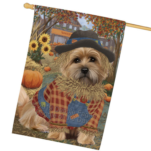 Halloween Round Town And Fall Pumpking Scarecrow Both Cairn Terrier Dogs Garden Flag GFLG65646