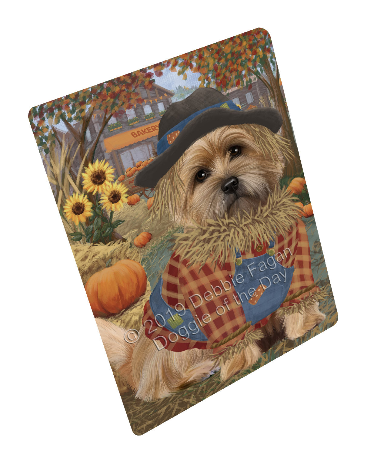 Halloween 'Round Town And Fall Pumpkin Scarecrow Both Cairn Terrier Dogs Large Refrigerator / Dishwasher Magnet RMAG104706