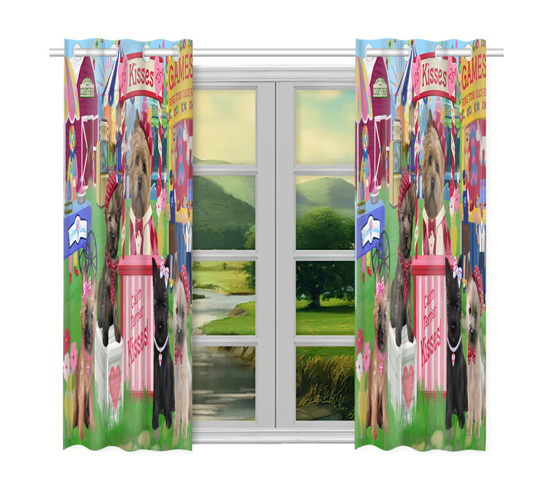 Carnival Kissing Booth Cairn Terrier Dogs Window Curtain