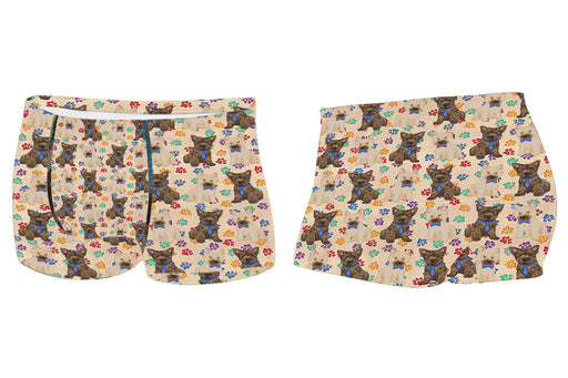 Rainbow Paw Print Cairn Terrier Dogs BlueMen's All Over Print Boxer Briefs