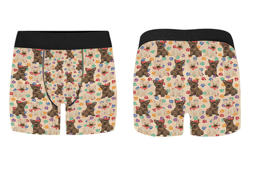 Rainbow Paw Print Cairn Terrier Dogs Red Men's Classic Boxer Briefs