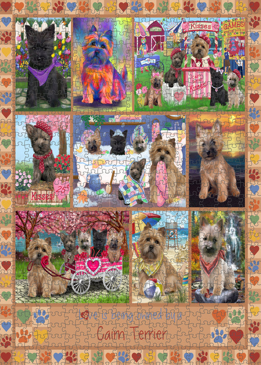 Love is Being Owned Cairn Terrier Dog Beige Puzzle with Photo Tin PUZL98348
