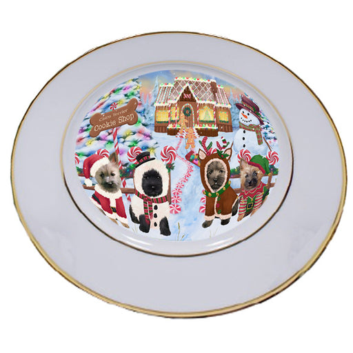 Holiday Gingerbread Cookie Shop Cairn Terriers Dog Porcelain Plate PLT54738