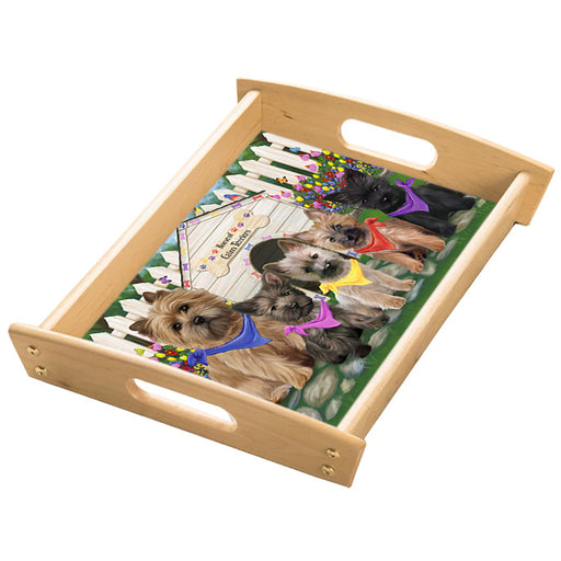 Spring Dog House Cairn Terriers Dog Wood Serving Tray with Handles Natural TRA48452